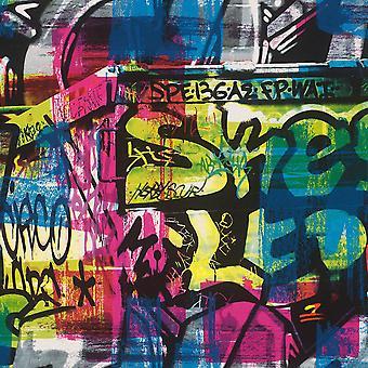 Graffiti Brick Wallpaper Peinture Splash Street Art Urban Kids Teen Bedroom Rasch