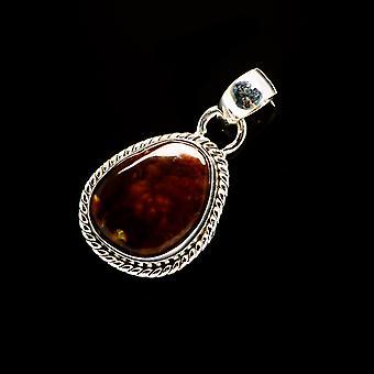 المكسيكي النار Agate قلادة 1 1/4 & quot; (925 الجنيه الاسترليني الفضة) - اليدوية بوهو خمر مجوهرات PD706114