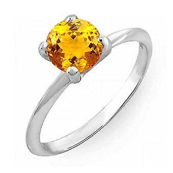 Dazzlingrock Collection 10K 8 MM Round Cut Citrine Solitaire Bridal Engagement Ring, White Gold