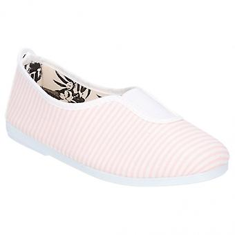 Flossy Rayuela Junior Canvas Slip On Plimsolls Light Pink