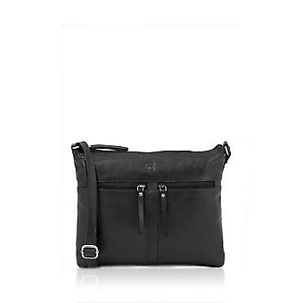 Bowland Classic Leather Zipped Cross Body Bag en noir