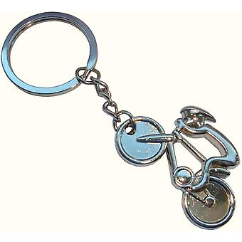 Bassin and Brown Cycling Key Ring - Silver