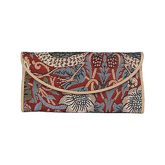 William morris - strawberry thief red money purse by signare tapestry / enve-strd