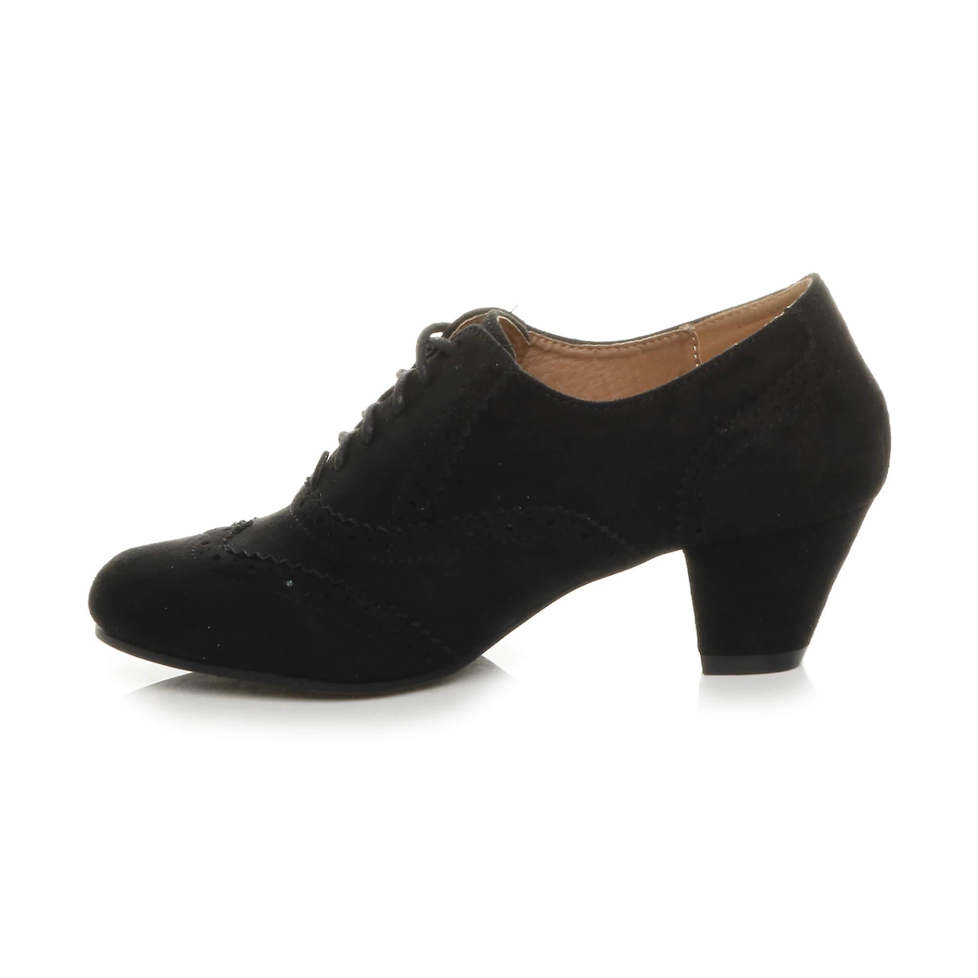 Womens Ajvani milieu talon bloc bas découper des bottines lacées confort caoutchouc brogue seule chaussure bottes