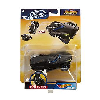 Hot Wheels Marvel Flip Fighters Black Panther Avengers Krockbil Leksaksbil 11cm