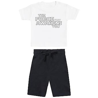 The Force That Awakens You - Baby T-Shirt with Black Baby Shorts - Baby Outfit
