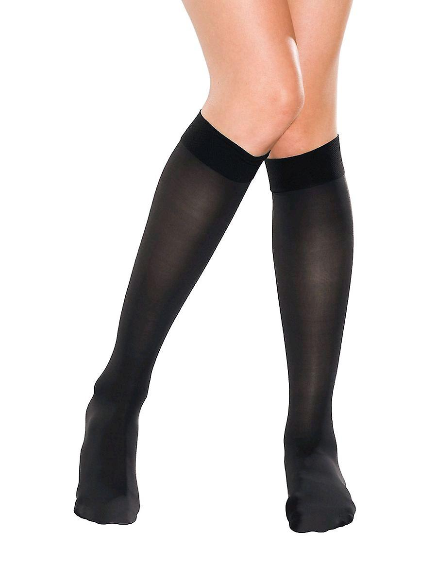 Therafirm Sheer Support Knee Highs or Flight Socks [Style A] Black  L