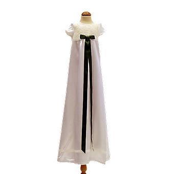 Dopklänning I Off White Med Kort ärm, Mörk Olivgrön Rosett