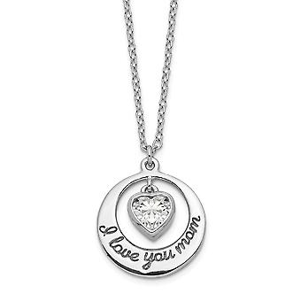 925 Sterling Silver Rhodium plated CZ Cubic Zirconia Simulated Diamond Heart Love You Mom With 2inch Ext Necklace 15 Inc
