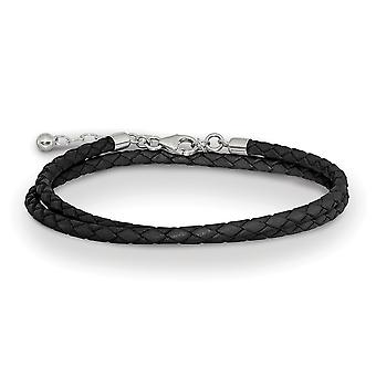 925 Sterling Silver Reflections Black Leather Com 2in Ext Choker Wrap Bracelet Joias de Joias para Mulheres