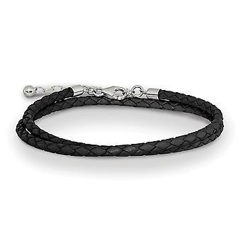 925 Sterling Silver Reflektioner Svart läder med 2in Ext Choker Wrap Armband Smycken Gåvor för kvinnor