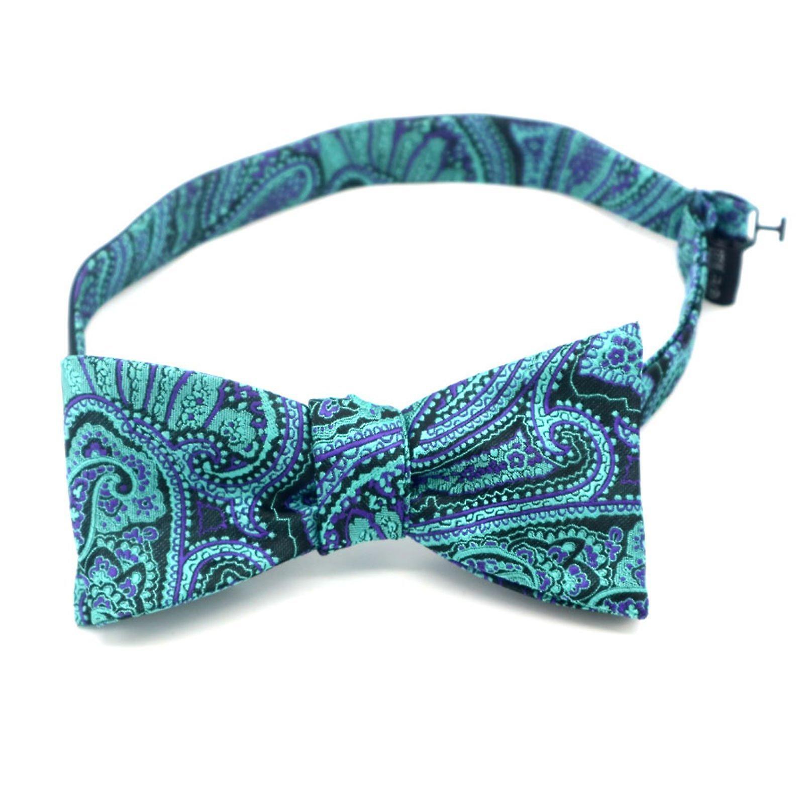 Green & purple paisley self bow tie & pocket square