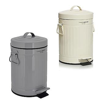 Charles Bentley Retro Powder Coated Steel Waste Rubbish Kitchen Bathroom Mini Pedal Bin-Fully Assembled-3L
