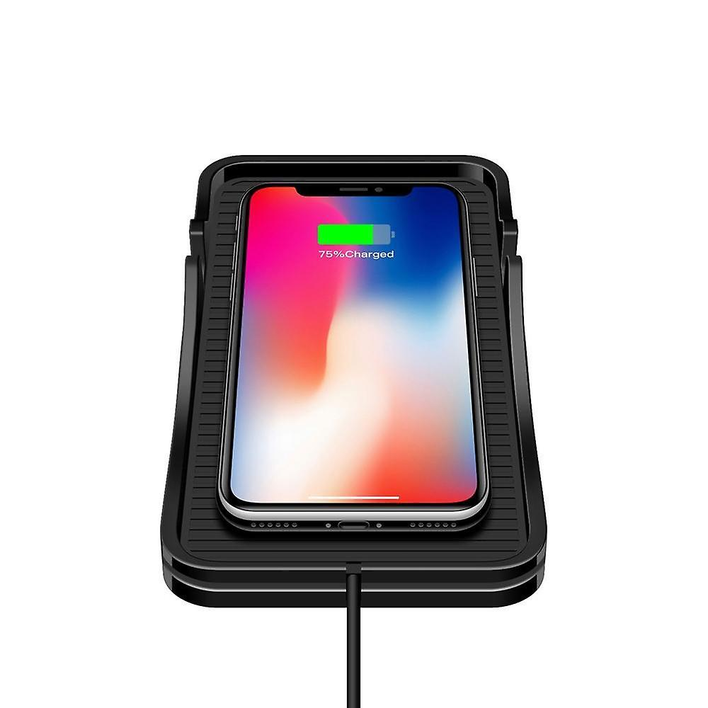 Universal wireless car charger qi charging pad,soft silicone mat (black)