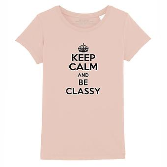STUFF4 Girl's Round Neck T-Shirt/Keep Calm Be Classy/Coral Pink