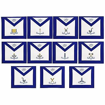 Masonic lodge officers machine embroidery aprons
