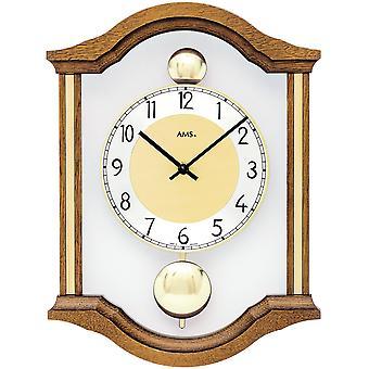 AMS 7447/4 wall clock kvartsi analoginen swing kaksinkertainen heiluri puinen oak kiinteä lasi