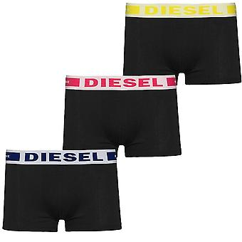 DIESEL 3-Pack Boxer Trunk UMBX-Kory, Black With Blue/Red/Yellow, Medium