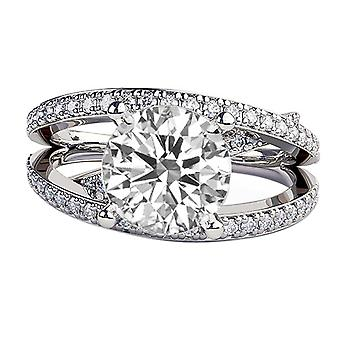 1.65 Carat H SI2 Diamond Engagement Ring 14K White Gold Solitaire w Accents Multi Band Round