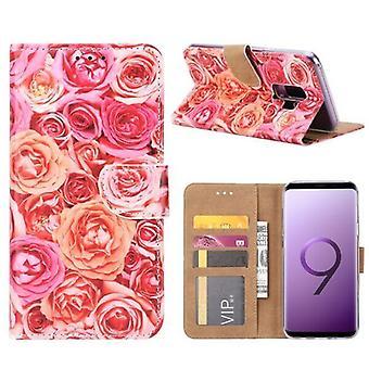 FONU Boekmodel Hoesje Roze Rozen Samsung Galaxy S9 Plus