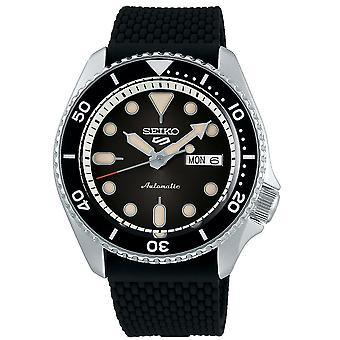 Seiko 5 Sports Silver Stainless Steel Case Black Silicone Strap Automatic Men's Watch