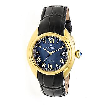 Empress Antoinette Automatic MOP Leather-Band Watch - Gold/Black