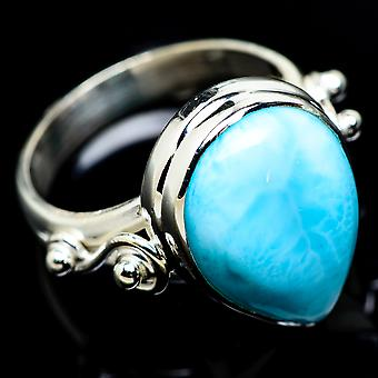 Larimar Ring Size 7.25 (925 Sterling Silver)  - Handmade Boho Vintage Jewelry RING7379