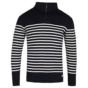 Armor Lux Półzip Czarno-biały sweter z dzianiny