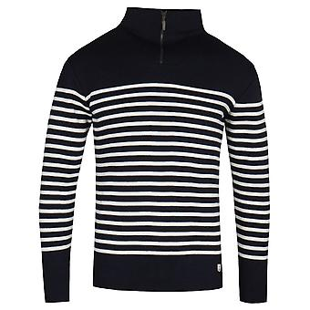 Armor Lux Half-zip svart & hvit strikk genser