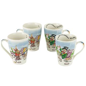 Alice in Wonderland Tea Party 15 Oz. 4 Mug Set