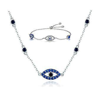 Браслет и колье с кристаллами Swarovski голубые глаза и серебро 925