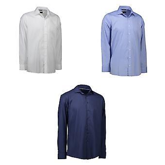 ID Mens Long Sleeve Modern Fit Hemd Bügelleicht