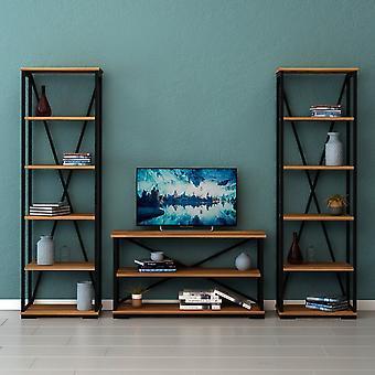 Mobile Porta TV Nuovo Colore Noce, Nero in Truciolare Melaminico, Metallo, L100xP30xA55 cm, L51xP30xA162 cm, L51xP30xA162 cm