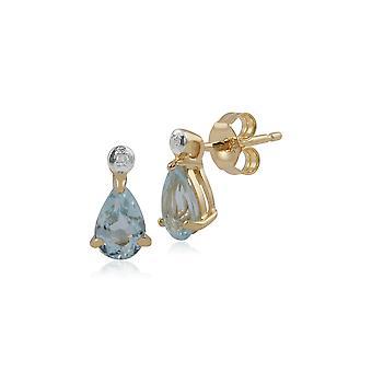קלאסי אגס כחול טופז & היהלומים טיפה עגילים ב 9ct זהב צהוב 135E1263019