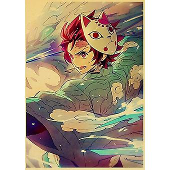 demon slayer: kimetsu ingen yaiba tanjirou nezuko anime plakat kraft papir vintage plakater hjem rom kunst vegg klistremerker