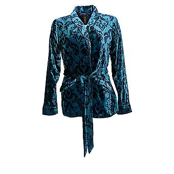 G.I.L.I. got it love it Women's Printed Velvet Jacket Teal Blue A345185