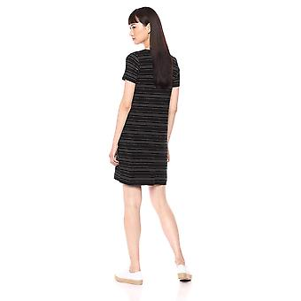 Daily Ritual Women's Jersey Short-Sleeve V-Neck, Black Stripe, Size X-Small