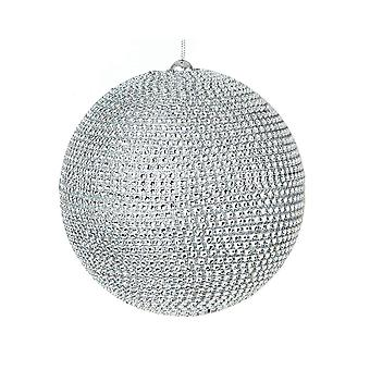 15cm Silver Diamante Bauble for Tree and Home