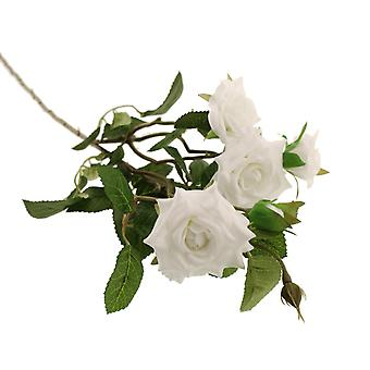 70cm White Garden Rose Spray - Artificial Flower Spray