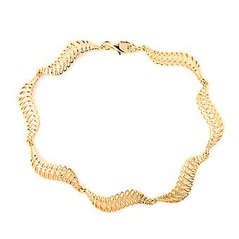 Wave Bracelet for Women Yellow Gold Plated Sterling Silver Size 8""