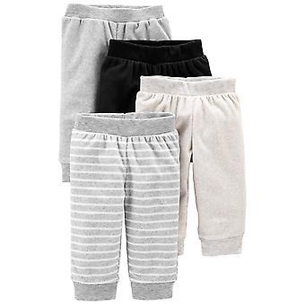 Simple Joys van Carter's Baby 4-Pack Neutral Fleece Pants, Light Dark Grey Str...