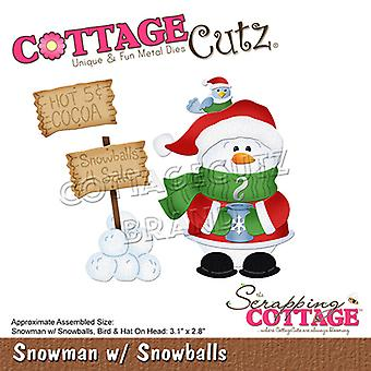 Scrapping Cottage Snowman with Snowballs