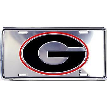 Georgia Bulldogs NCAA Silver Mirror License Plate