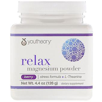 Youtheory, Relax, Magnesium Powder, Stress Formula + L-Theanine, Berry, 4.4 oz (