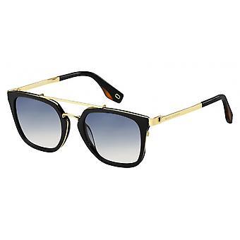 Sunglasses Men's Double Bridge Rectangular Black/gold
