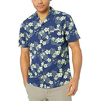28 Palms Men's Standard-Fit 100% Cotton Tropical Hawaiian Shirt, Navy/Bright ...