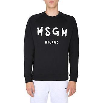 Msgm 2940mm1042075999 9 Männer's schwarze Baumwolle Sweatshirt