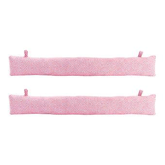 Nicola Spring Draught Excluder Cushion - Modern Style Fabric for Home, Office - Pink - Pack of 2