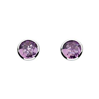 Dew Silver Medium Round Amethyst Cubic Zirconia Earrings 3039AM014