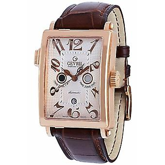 Gevril Men's 5150R Avenue of Americas Serenade Automatic 18K Gold Leather Watch